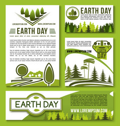 Posters and banners earth day templates set vector