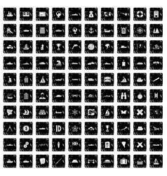100 shipping icons set grunge style vector image