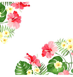 Tropical flower garland vector