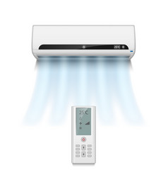 realistic air conditioner isolated on white with vector image