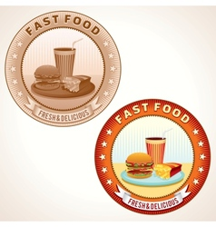 Retro fast food labels vector