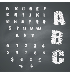Alphabet and symbols on chalkboard vector