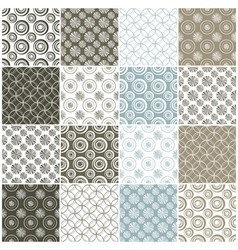 Brown and blue seamless patterns with circles vector