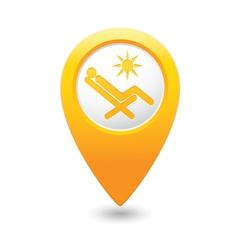 Beach chair icon yellow map pointer vector