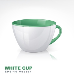 White cup with green elements vector image