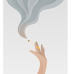 Silhouette of the hand holding a cigarette vector