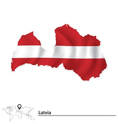 Map of latvia with flag vector