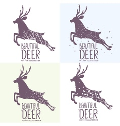 Deer set vector