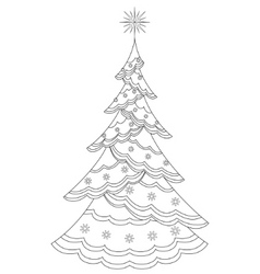 christmas firtree with snowflakes contours vector image