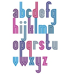 Poster elegant bright striped font lower case vector