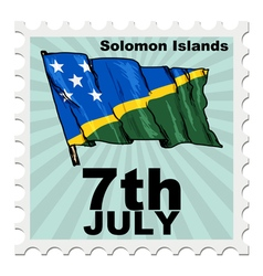 Post stamp of national day of solomon islands vector