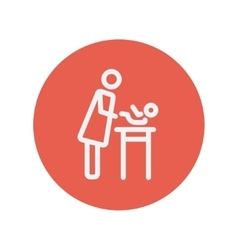 Woman changing the diaper thin line icon vector