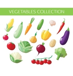 Set of vegetables icons Flat style design vector image