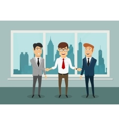 Businessmen shaking hands in modern office vector