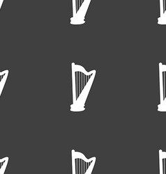 Harp icon sign seamless pattern on a gray vector