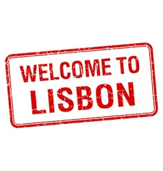 Welcome to lisbon red grunge square stamp vector