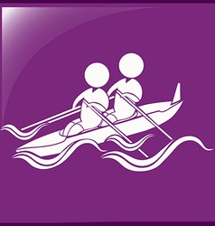 Sport icon for kayaking on purple background vector