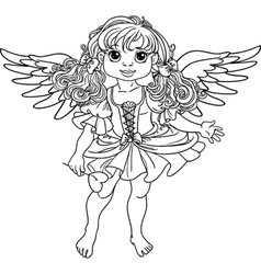 Pretty angel girl with wings black outline vector