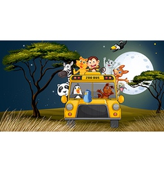 A bus near the trees full of animals vector image