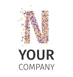 Alphabet particles logotype Letter-N vector image