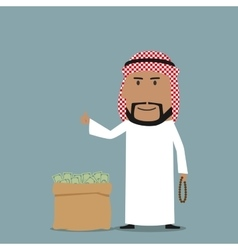 Arabian businessman with full bag of money vector image vector image
