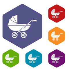 Baby carriage icons set hexagon vector