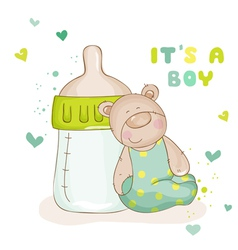 Baby Shower or Baby Arrival Cards - Cute Baby Bear vector image