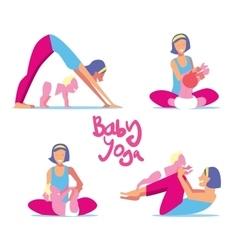Baby yoga set vector image vector image