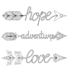 Bohemian arrows handpainted signs boho adventure vector