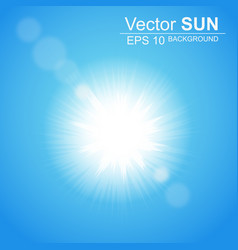 Bright sun in the blue sky with glare effect vector