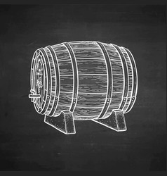 chalk sketch of wooden barrel vector image vector image