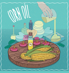Corn oil used for soap making vector