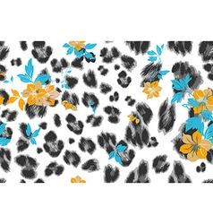 Cute flower seamless mix leopard pattern vector