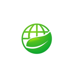 earth globe ecology leaf nature logo vector image