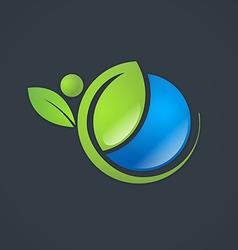Ecology natural life globe plant people logo vector