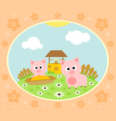 Farm background with funny pig vector