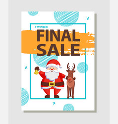 Final christmas sale holiday discount poster santa vector