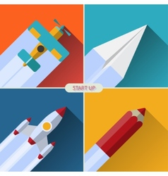 Flat design concept with rocket image of new vector image