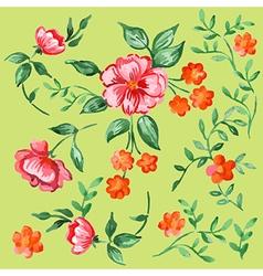 Handpainted watercolor flowers and leaves vector