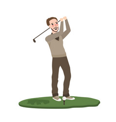 man play golf swing course swing flat vector image