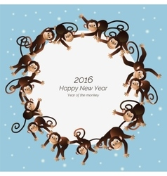 Monkeys in a circle vector image