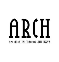 Narrow slab serif font in new gothic style vector