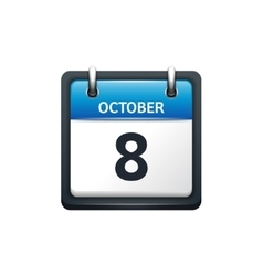 October 8 Calendar icon flat vector image