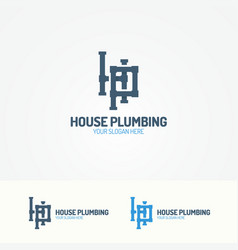 plumbing service logo with pipelines vector image