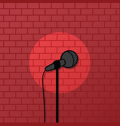 Red brick spotlight stand up comedy stage vector