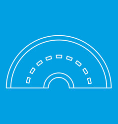 Round turning road icon outline style vector