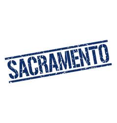 Sacramento blue square stamp vector