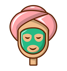 Spa facial clay mask icon cartoon style vector