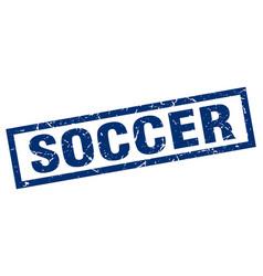 Square grunge blue soccer stamp vector