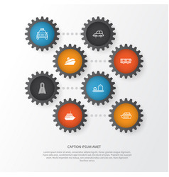 transportation icons set collection of railway vector image